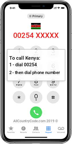 Kenya 254 Country Code KE KEN