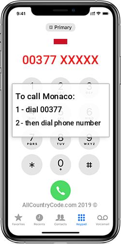 Monaco 377 Country Code MC MCO