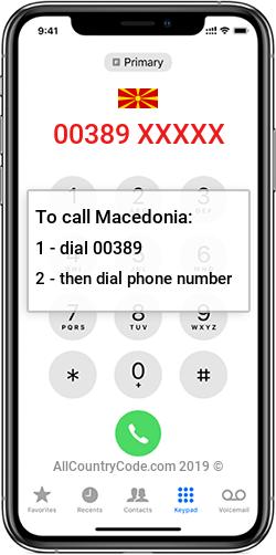 Macedonia 389 Country Code MK MKD