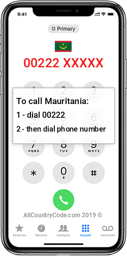 Mauritania 222 Country Code MR MRT
