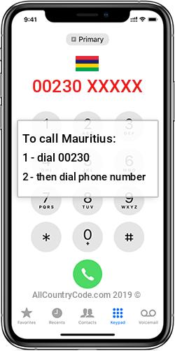 Mauritius 230 Country Code MU MUS