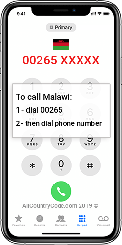 Malawi 265 Country Code MW MWI