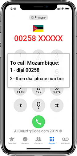 Mozambique 258 Country Code MZ MOZ