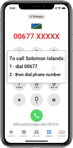 Solomon Islands 677 Country Code SB SLB