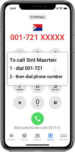 Sint Maarten 1-721 Country Code SX SXM