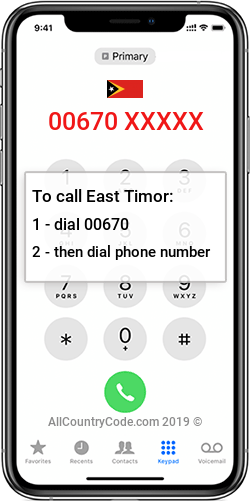 East Timor 670 Country Code TL TLS