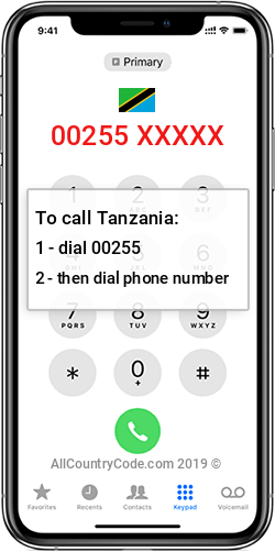 Tanzania 255 Country Code TZ TZA