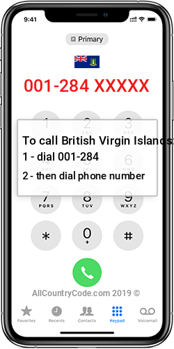 British Virgin Islands 1-284 Country Code VG VGB