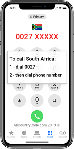South Africa 27 Country Code ZA ZAF