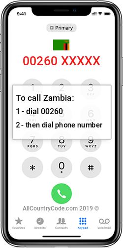 Zambia 260 Country Code ZM ZMB
