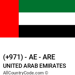 United Arab Emirates Country and phone Codes : +971, AE, ARE