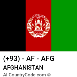 Afghanistan 93 AF Country Code (AFG) | All Country Code