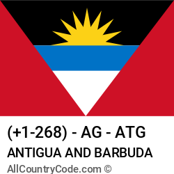 Antigua and Barbuda Country and phone Codes : +1-268, AG, ATG