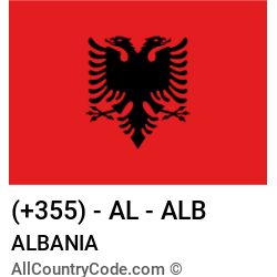 Albania Country and phone Codes : +355, AL, ALB