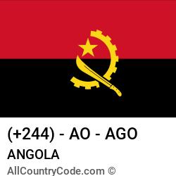 Angola Country and phone Codes : +244, AO, AGO