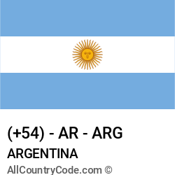Argentina Country and phone Codes : +54, AR, ARG
