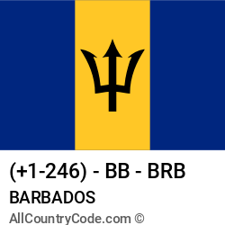 Barbados Country and phone Codes : +1-246, BB, BRB