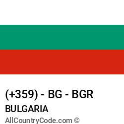 Bulgaria Country and phone Codes : +359, BG, BGR