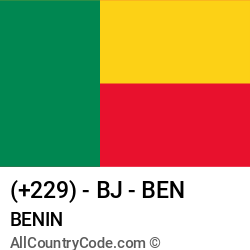 Benin Country and phone Codes : +229, BJ, BEN