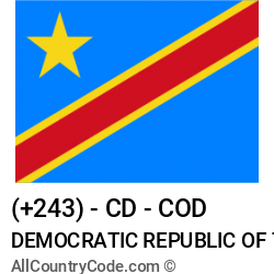 Democratic Republic of the Congo Country and phone Codes : +243, CD, COD