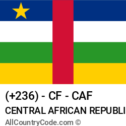 Central African Republic Country and phone Codes : +236, CF, CAF