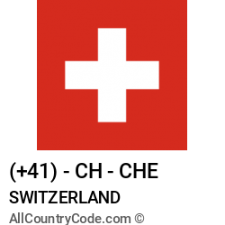 Switzerland Country and phone Codes : +41, CH, CHE