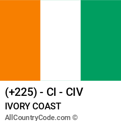 Ivory Coast Country and phone Codes : +225, CI, CIV