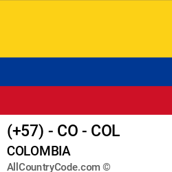 Colombia Country and phone Codes : +57, CO, COL