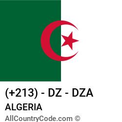 Algeria Country and phone Codes : +213, DZ, DZA