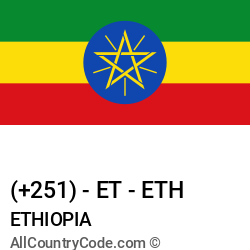 Ethiopia Country and phone Codes : +251, ET, ETH