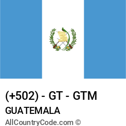 Guatemala Country and phone Codes : +502, GT, GTM