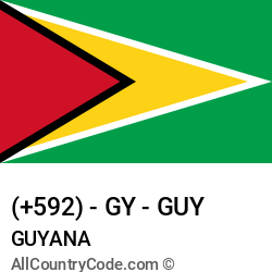 Guyana Country and phone Codes : +592, GY, GUY