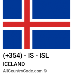 Iceland Country and phone Codes : +354, IS, ISL