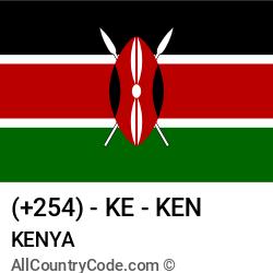 Kenya Country and phone Codes : +254, KE, KEN