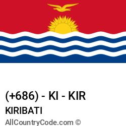 Kiribati Country and phone Codes : +686, KI, KIR