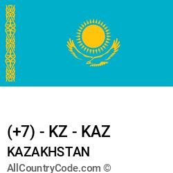 Kazakhstan Country and phone Codes : +7, KZ, KAZ