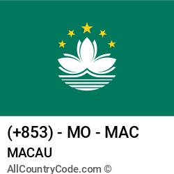 Macau Country and phone Codes : +853, MO, MAC