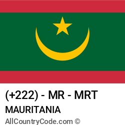 Mauritania Country and phone Codes : +222, MR, MRT