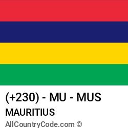 Mauritius Country and phone Codes : +230, MU, MUS
