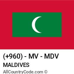 Maldives Country and phone Codes : +960, MV, MDV