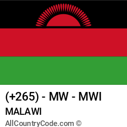 Malawi Country and phone Codes : +265, MW, MWI