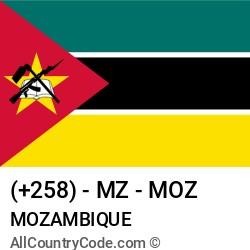 Mozambique Country and phone Codes : +258, MZ, MOZ