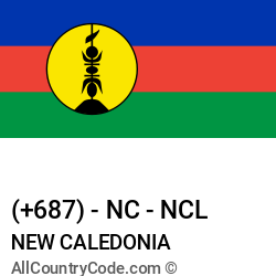 New Caledonia Country and phone Codes : +687, NC, NCL