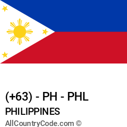 Philippines Country and phone Codes : +63, PH, PHL