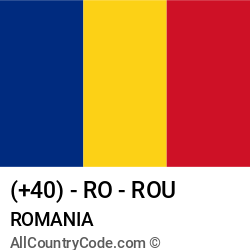 Romania Country and phone Codes : +40, RO, ROU