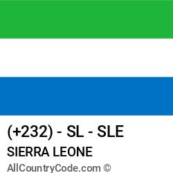 Sierra Leone Country and phone Codes : +232, SL, SLE