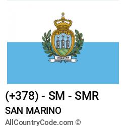 San Marino Country and phone Codes : +378, SM, SMR