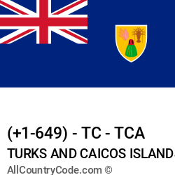 Turks and Caicos Islands Country and phone Codes : +1-649, TC, TCA