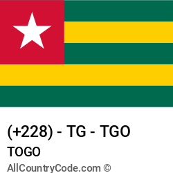 Togo Country and phone Codes : +228, TG, TGO