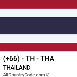 Thailand Country and phone Codes : +66, TH, THA